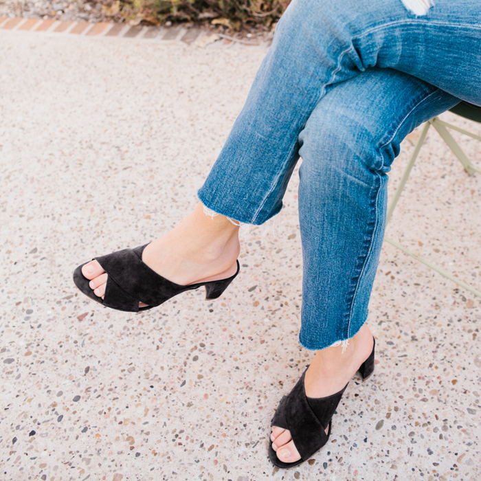 e8985b7458 This style of sandal has been a favorite forever—and a straight-leg jean?  Same. Pairing two classics is a pretty foolproof move. RIPPED HEMS + BLOCK  HEELS